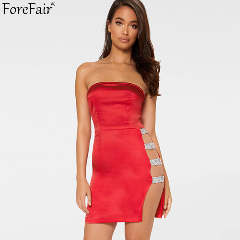 ForeFair Black Red Satin Side Hollow Out Sexy Party Club Dress Summer Strapless Mini Bodycon Dress Women