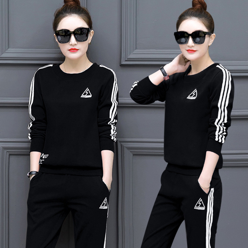Loneyshow 2018 Autumn And Winter New Korean Version Of The Sportswear Suit Women's Casual Long-sleeved Slim Sweater Sets
