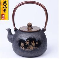 2018 Новый 1.2L Bamboo мармелад инкрустированные чугунок руководство без покрытия чугунный чайник японский чайный сервиз чайник