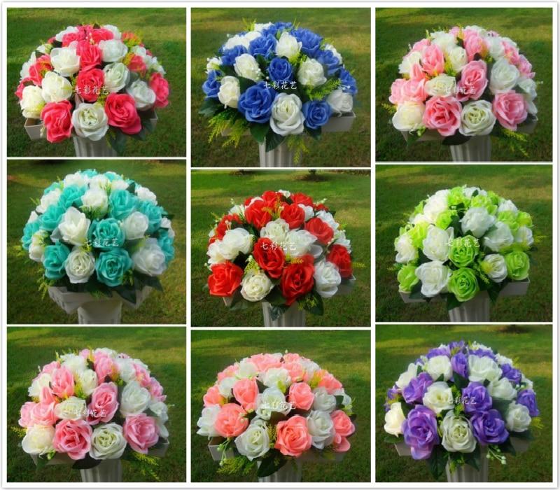 Kāzu ceļa svina ziedi 37 galvas ziedu pušķi romiešu kolonna - Svētku piederumi