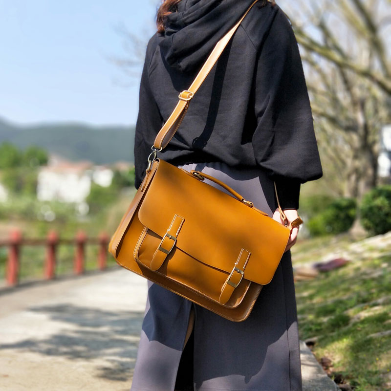 Vintage Fashion Yellow Brown Women Satchels Bag Horizontal Literary Girls' School Bag Big A4 Docoment Bag Casual Leather Handbag