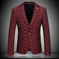 Мужская Мода Куртка Полный Рукав Зубчатый Воротник Slim Fit Платье Деловой Костюм Пальто M-3XL 4XL красный серый # k8611