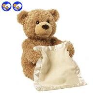 Een speelgoed Een droom 30 cm Peekaboo Teddybeer Spelen Verbergen en Seek Cartoon Knuffel Leuke Muziek Beer Pop Gevulde Kids Kerst Gift