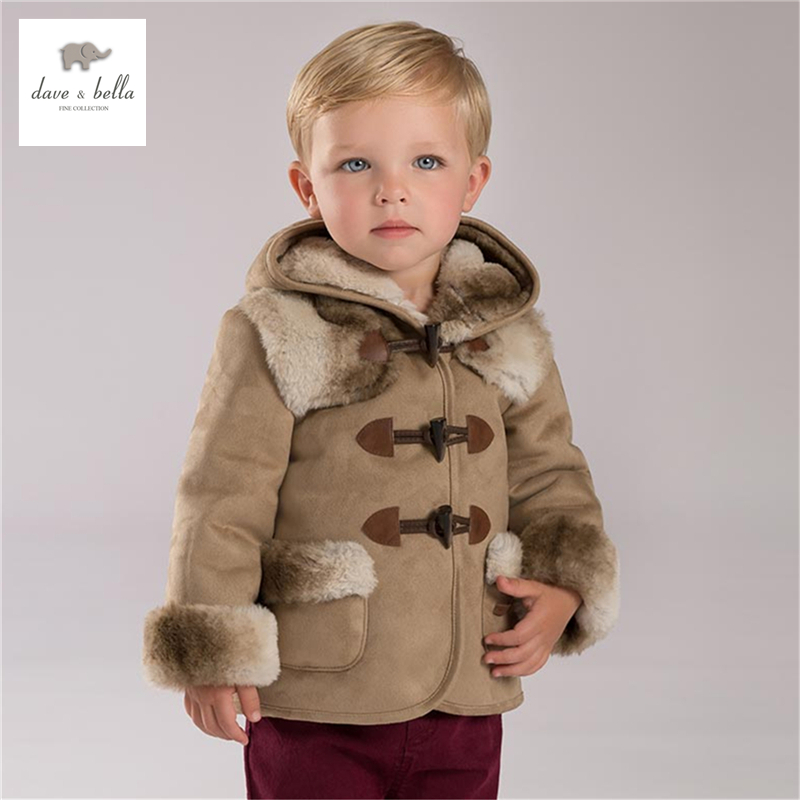 DB3904 dave bella winter baby boy camel coat with hood fur lining coat zipper pocket quilted coat with fur trim hood