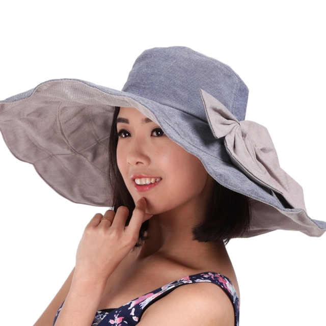 Summer Hats for Women Ladies Foldable Floppy Reversible Wide Brim Beach Sun  Hat With Bowknot 59fd3cef4c94