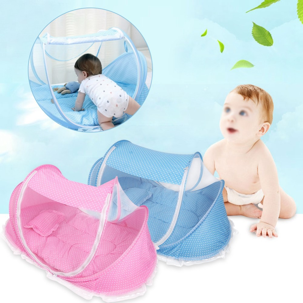 Foldable Infant Baby Canopy Bed Mosquito Net Holiday Travel Cot Tent Crib Pillow