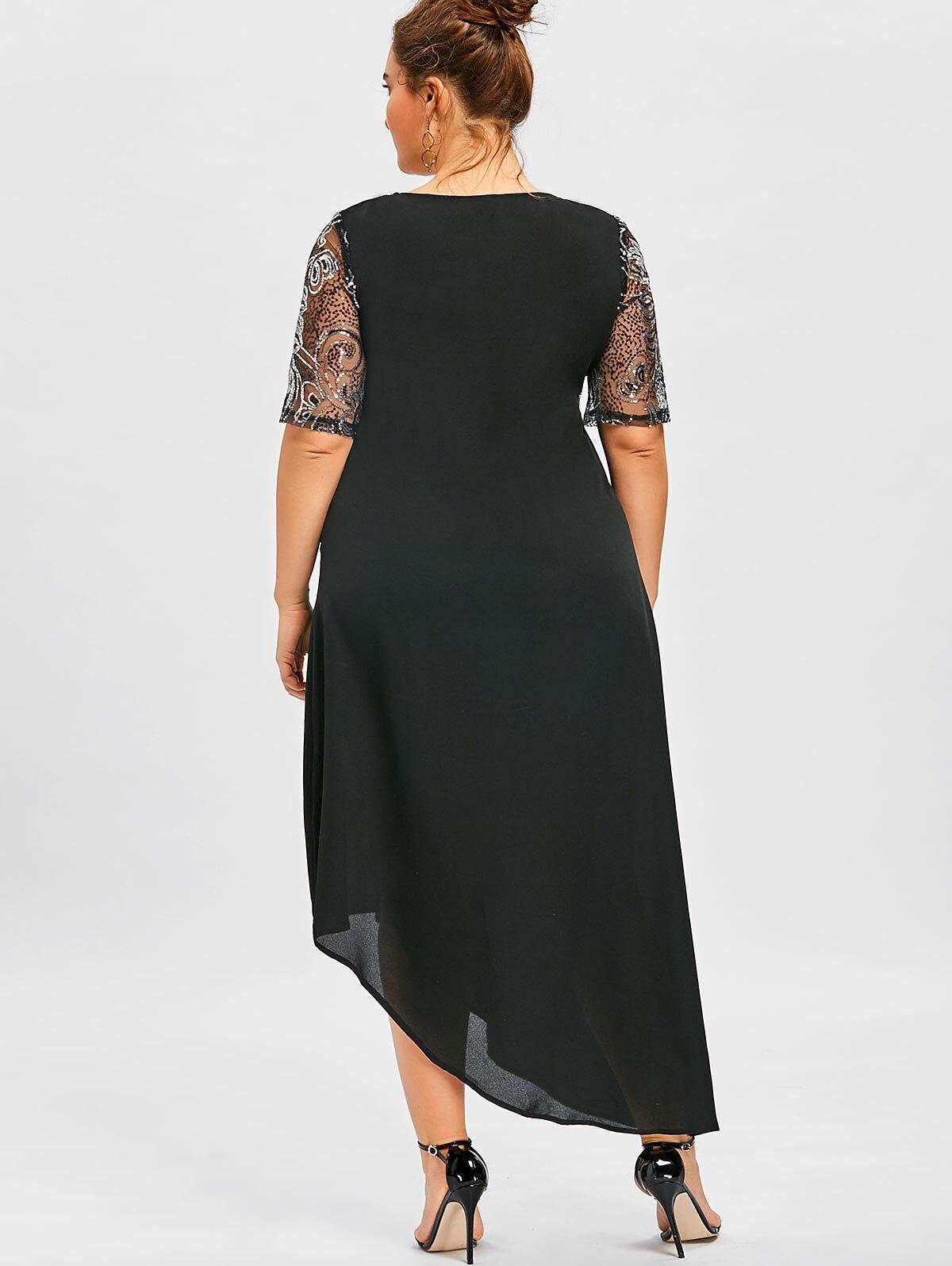 45d5d46ea50d Gamiss Women Sparkly Party Dresses 5XL Plus Size Sequined Asymmetric Maxi  Dress Summer Elegant Black Half Sleeves Dress Vestidos-in Dresses from  Women's ...