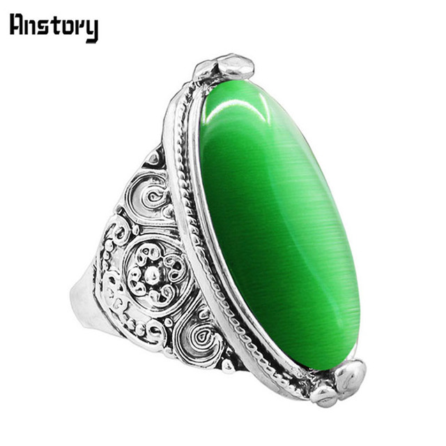 Flower Band Oval Opal Rings For Women Vintage Look Antique Silver Plated Persona