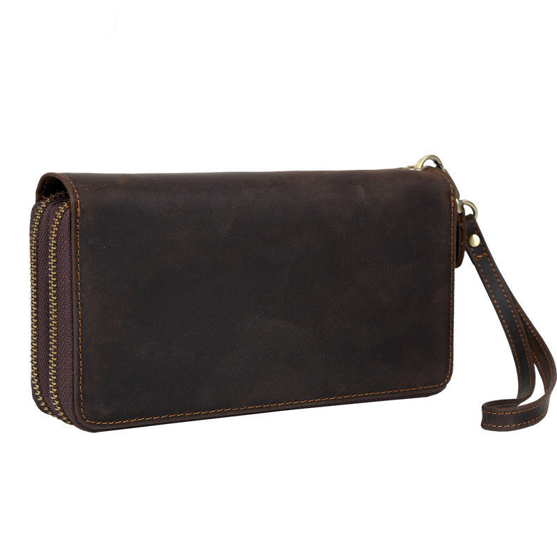 Imported Head Layer Cowhide Both Zipper Men Clutch Wallet Genuine Leather Male Long Purse Vintage Man Notecase PR084009 new head layer cowhide purse female butterfly skin carving bag long wallet retro handbag leather lady purse