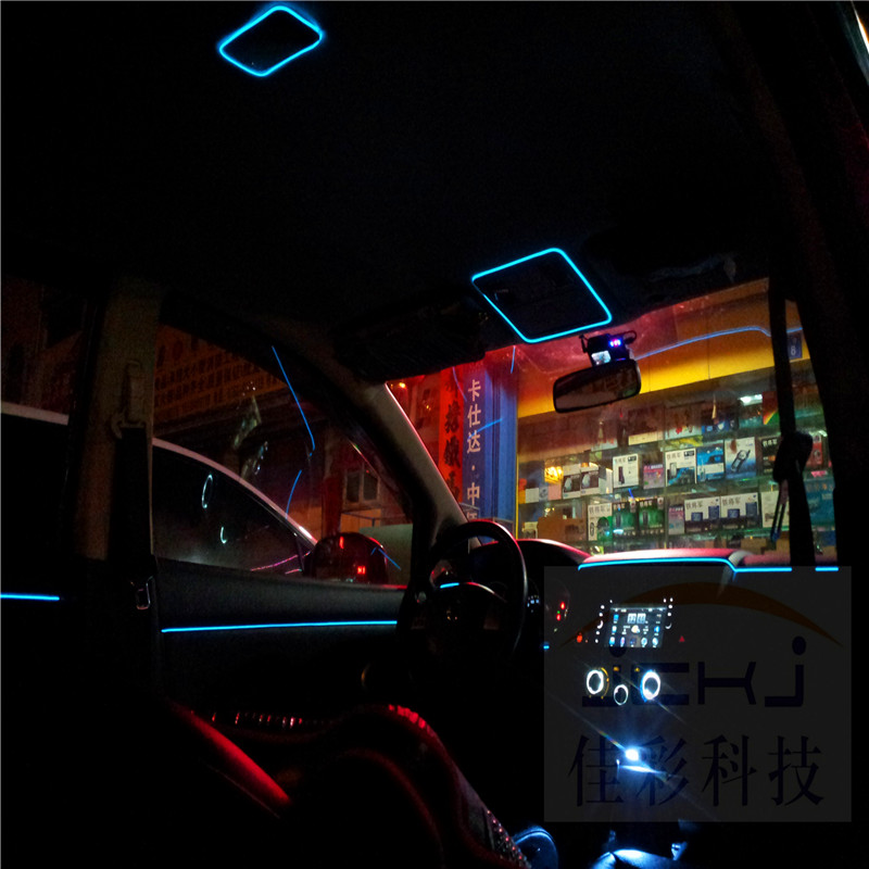JingXiangFeng DIY Decoration 12V Auto Car Interior LED Flexible Neon Light EL Wire Light Line Party Weeding Decal 10 Colors 2M 2m glowing flexible led neon el wire light string