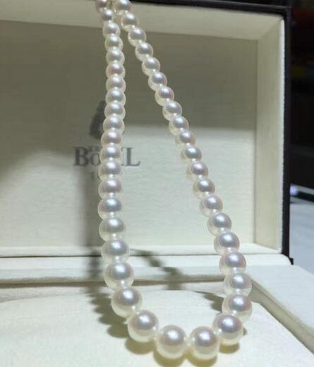 free shipping 8-9mm AKOYA natural seawater pearl necklace white round цена и фото