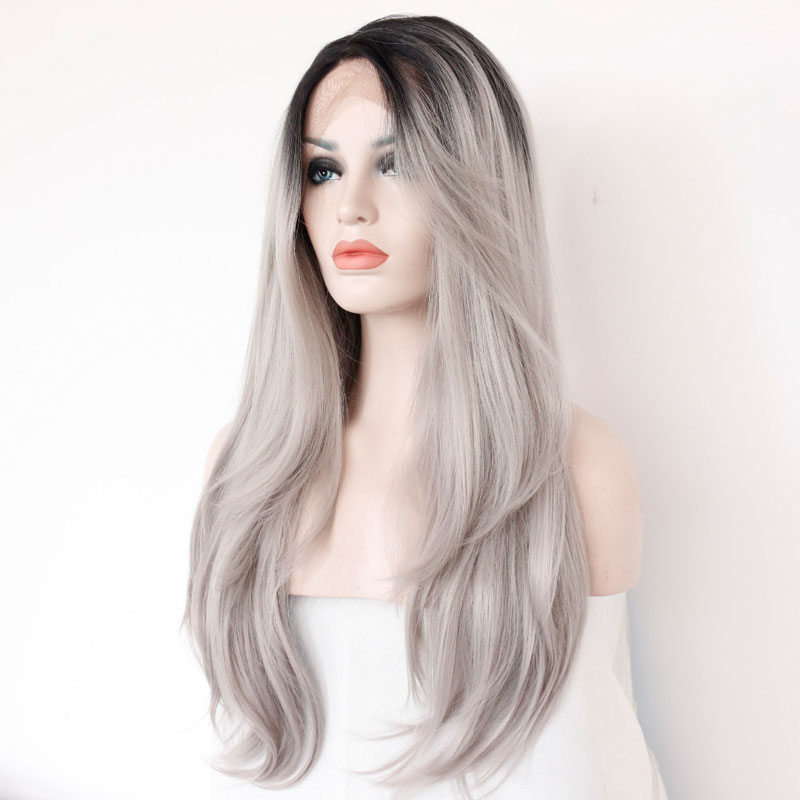 Bombshell Dark Roots Ombre Silver Grey Natural Straight Synthetic Lace Front Wig Glueless Heat Resistant Fiber