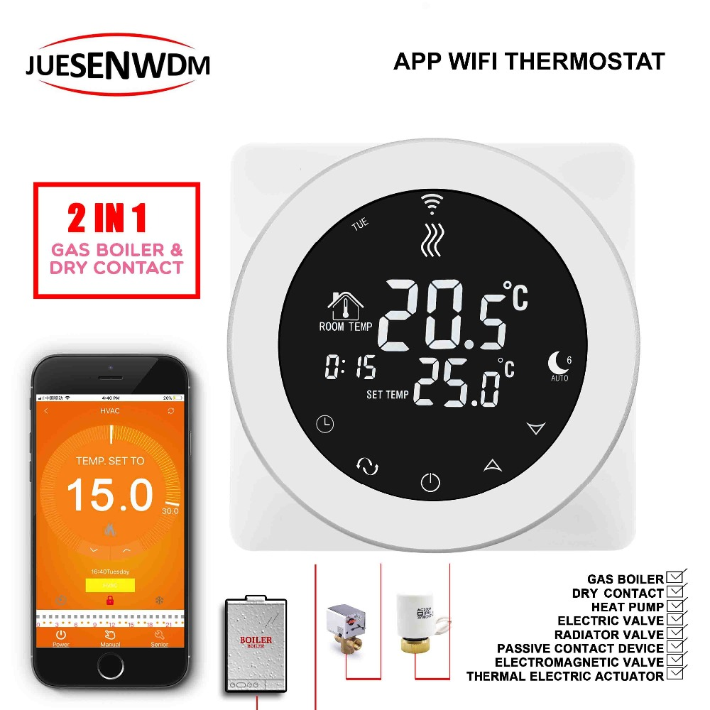 Round EU Voice Interaction Wifi Wireless Room Thermostat Control For 2 In 1 Gas Boiler Dry Contac & Radiator Valve