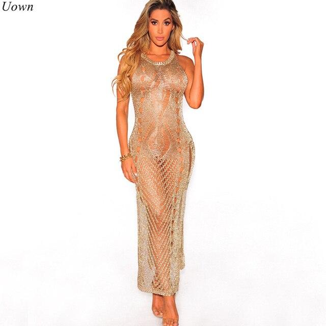 d7f163da46b7 Sexy Crochet Gold Hollow Out Bodycon Sweater Dress Women Casual Pullover  O-neck Sleeveless Long Maxi Beachwear Gowns Tunic