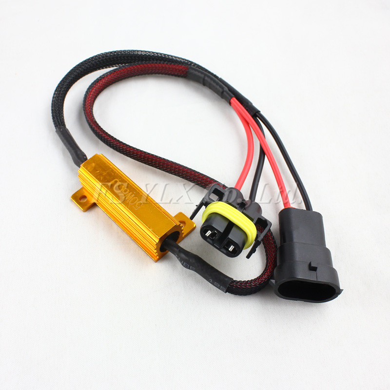 FSYLX 2pcs H8 H9 H11 LED Light Fog Xenon HID DRL Lamp Bulb Decoder Resistor Canbus Wire Harness Adapter 50w 6ohm 9-14V partol h4 h13 h7 h8 h9 h11 hb3 9005 hb4 9006 car led headlight bulbs canbus fog lamp light decoder resistor wire harness adapter