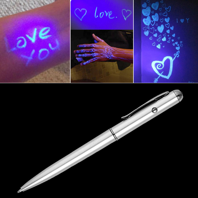 Moonovol Creative Magic LED UV Light Ballpoint Pen School Office Supplies