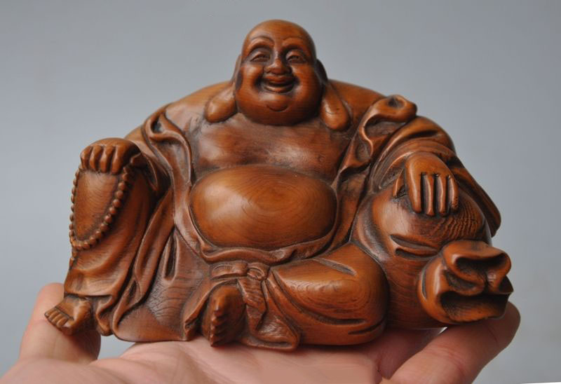 Boxwood Wood Carving Maitreya Buddha Hand-Carved Handmade Sculpture Collection