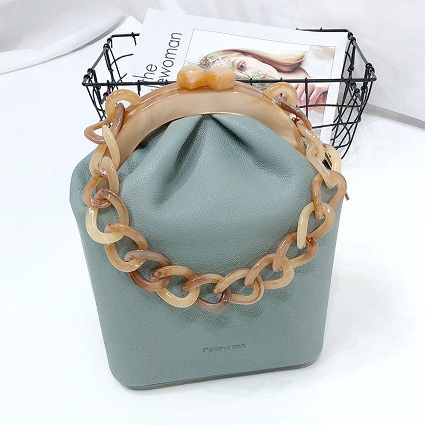 Boîte seau sac femmes sac à main acrylique Clip sac de soirée pour femme chaîne luxe Banquet fête sac à main épaule sacs sacs à main 2018 nouveau