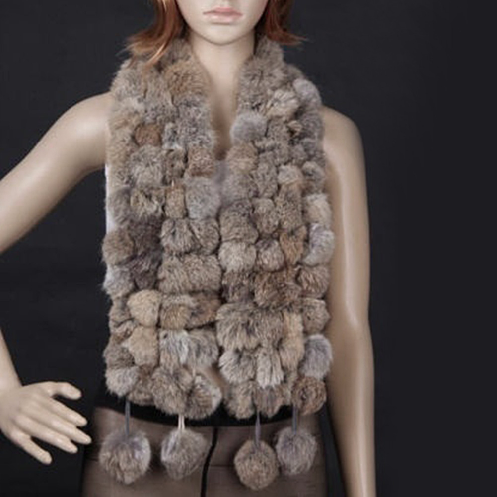 Unique Stylish Winter Warm Scarves Women Faux Rabbit Fur Scarf Lady Casual Fur Scarves Ball Velvet Rabbit  Long Style