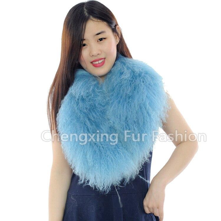 Настоящий монгольский овечий меховой воротник настоящий овечий мех шарф шарфы накидка шейный платок меховой шарф - Цвет: Тёмно-синий