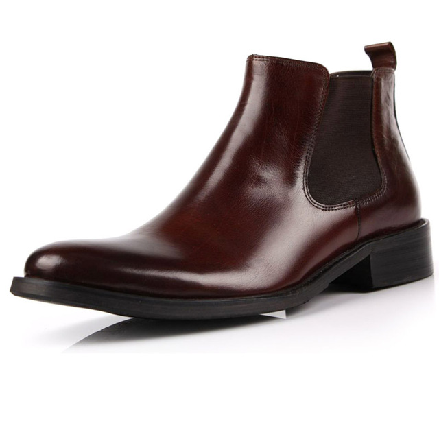 26f59bf670130c New Fashion Real Leather Men's Ankle BOOTS Formal shoes slip on black or brown  size 5.5~11 us