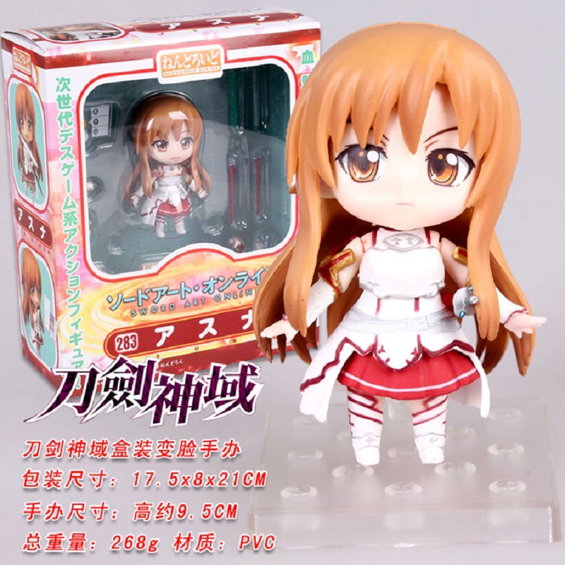 Anime Sword Art Online PVC Action Figure Cute Nendoroid 4 SAO Asuna Q Version 3 Faces Figures Toys Doll Collection Model Toy japan anime figma sword art online yuuki asuna sao new pvc action figure collection model toys doll 15cm lc0183