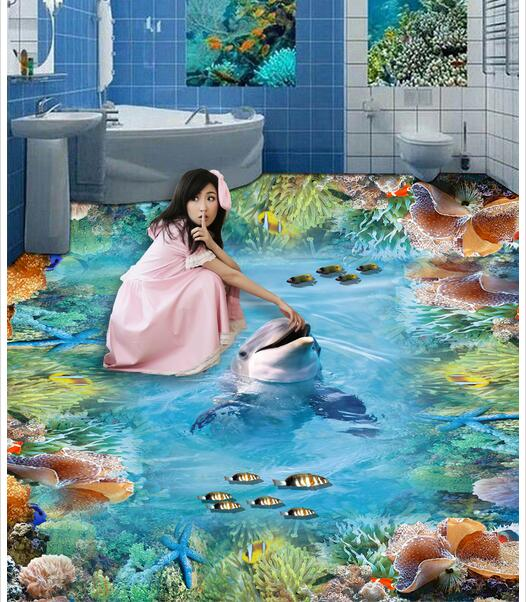 3d pvc flooring custom photo mural waterproof floor picture Dolphins coral reefs wallpaper for walls 3d room decoration painting pooria alirezazadeh an analytical study of translation of stream of consciousness