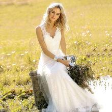 39cb5dbab7 LORIE suknia ślubna w stylu Vintage 2019 V Neck koronki syrenka suknia  ślubna biała kość słoniowa z sashes custom Made suknia śl.