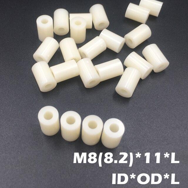 200pcs M8 8.2*14*5 8.2x14x5 8.2*14*8 8.2x14x8 ID*OD*L ABS Plastic Nylon Round Column Insulation Shim Washer Standoff Spacer