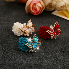 Crystal Butterfly Resin Rose Opening Adjustable Ring Sparkling Jewelry Red White Blue Retail&Wholesale For Women Free Shipping