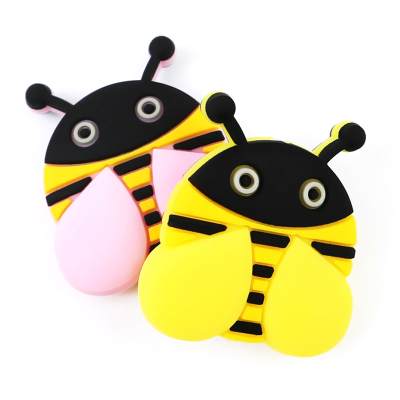 50Pcs Honey Bee Panda Silicone Beads Baby Teether Bead Animal Mordedor Silicona Baby Products Teething Necklace Baby Accessories