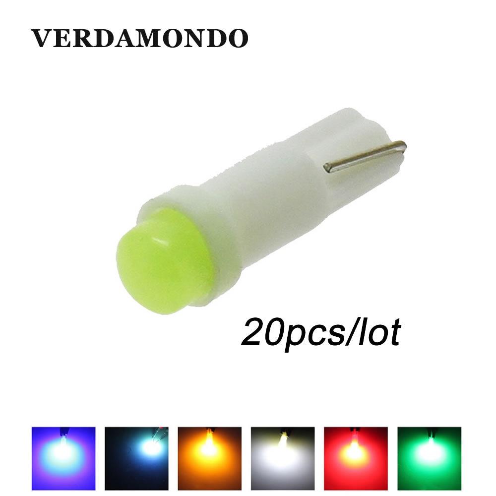 20pcs Car Interior T5 Led 1 SMD DC 12V Light Ceramic Dashboard Gauge Instrument Ceramic Car Auto Side Wedge Light Lamp 6 Colors