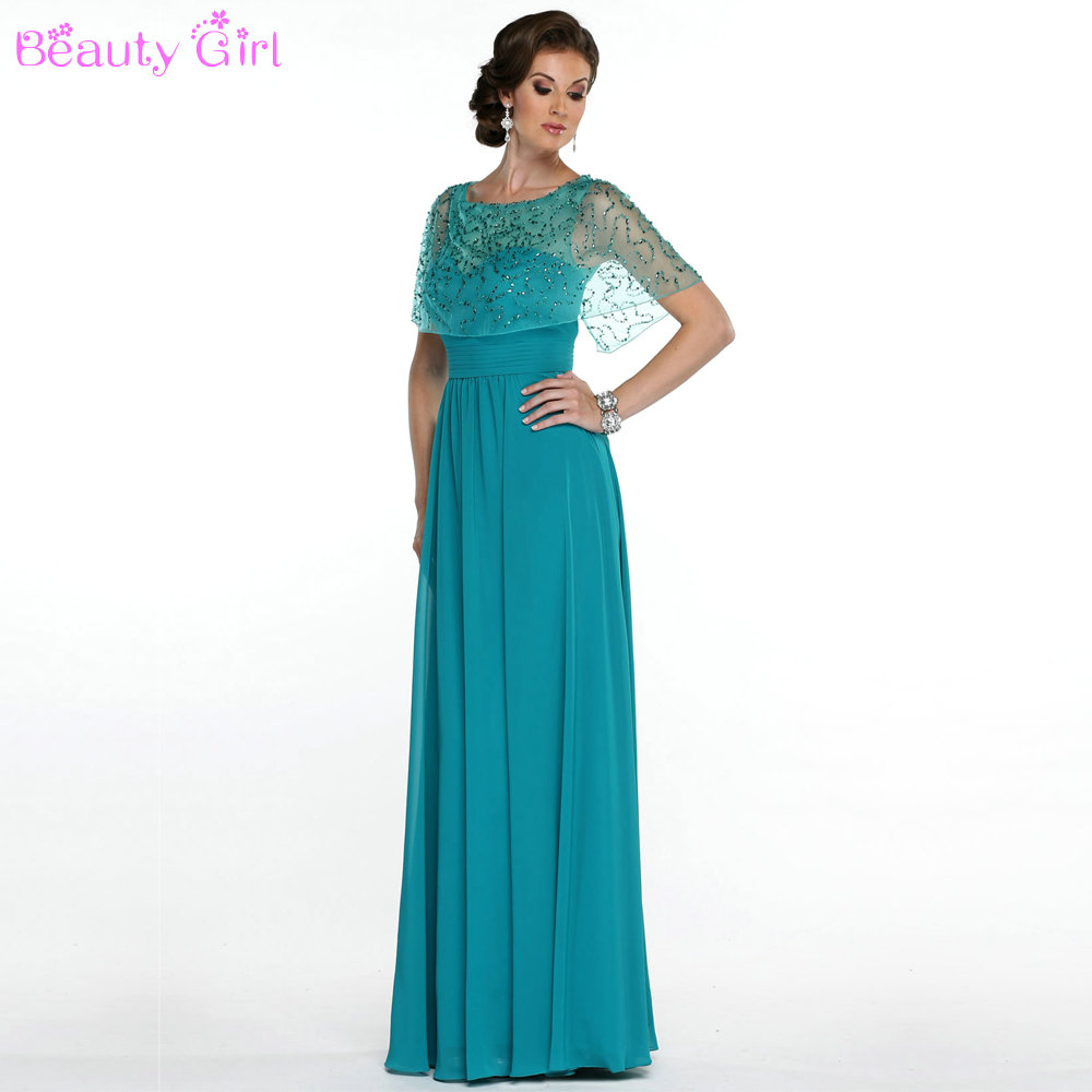 Fashion Design Beaded Shawl Long Chiffon Mother of Bride Gown ...