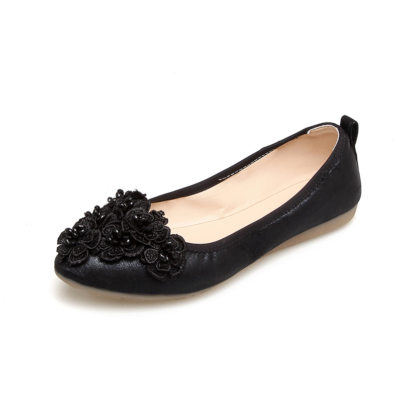 58e462e2e Lankarin 2017 Summer Women Sweet Flower Gold Flats Ladies Comfortable Round  Toe Silver Flat Shoes Woman Foldable Ballet Shoes-in Women's Flats from  Shoes on ...
