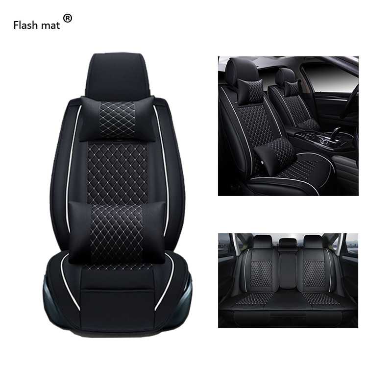 Flash mat Universal Leather Car Seat Covers for Mercedes Benz W203 W210 W211 AMG W204 C E S CLS CLK CLA SLK A20 Car-Styling kayme waterproof full car covers sun dust rain protection car cover auto suv protective for mercedes benz w203 w211 w204 cla 210