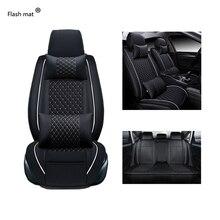 Mata błyskowa uniwersalne skórzane pokrowce na siedzenia samochodowe Mercedes Benz W203 W210 W211 AMG W204 C E S CLS CLK CLA SLK A20 samochód stylizacji