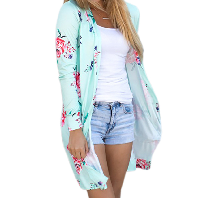 Summer Coat Woman Kimono Jacket Casual Floral Cardigans Jackets Long Sleeve Loose Coat Tops Tee Tunic Mujer Femme 2017 WS1105U 1