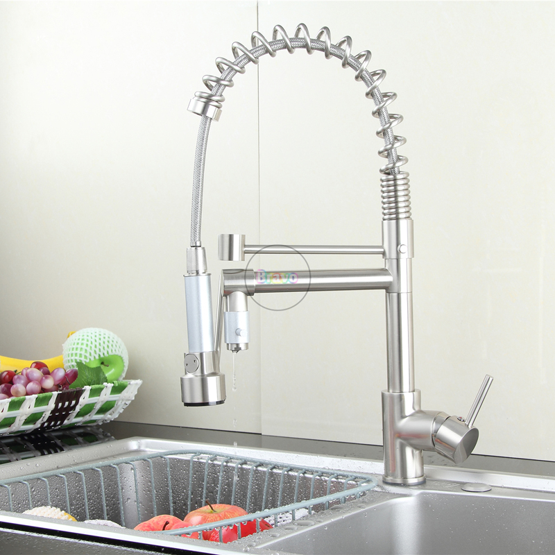bursh brass double spouts 360 Degree Put Out Kitchen spray Faucet cold hot water mixer tap