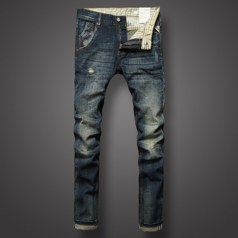 Nostalgia Retro Fashion Men Jeans Destroyed Ripped Jeans For Men Brand Stripe Casual Pants Slim Fit Brand Men's Jeans Size 29-38 nostalgia retro design fashion men jeans european stylish dimensional knee frayed hole destroyed ripped jeans men biker jeans