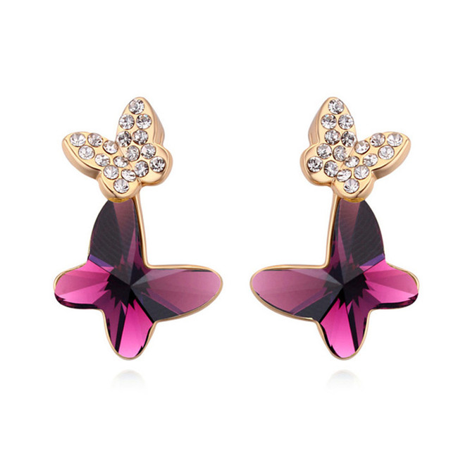 Sweet Wedding Party Women Jewelry Butterfly Crystal from Swarovski Fashion Gold Colors Stud Earrings Made with Swarovski Element