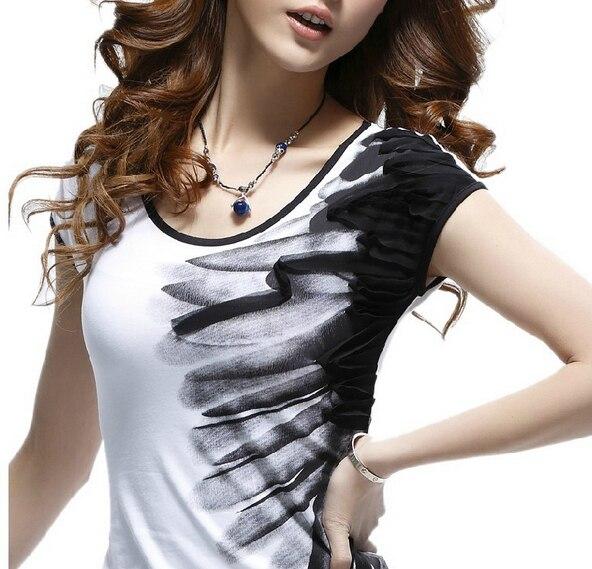 Свободного покроя круг чернила печать короткий рукав лето хлопок футболки женщины черный красный рубашка этнический лето стиль F430