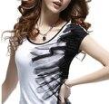 Tinta de impressão casuais de algodão de manga curta de verão mulheres estilo étnico preto F430