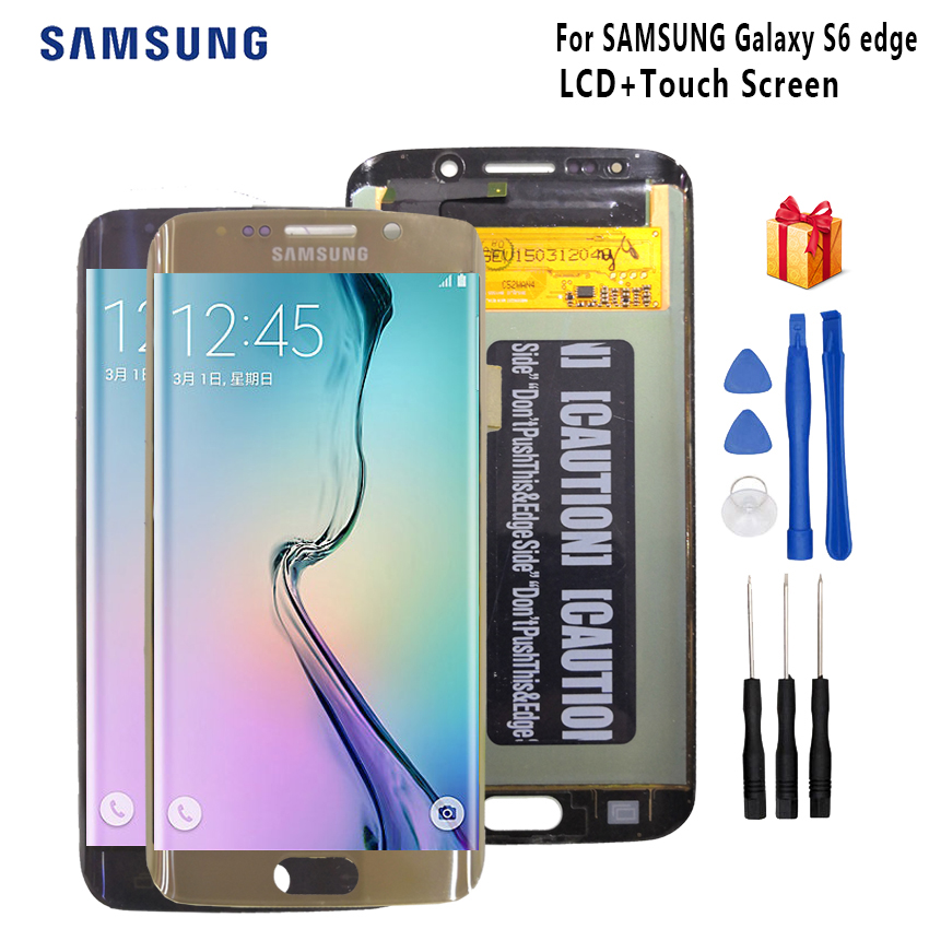 Original For SAMSUNG Galaxy S6 Edge LCD Display G925 G925I G925F Touch Screen Digitizer Phone Parts OLED Display Free Tools