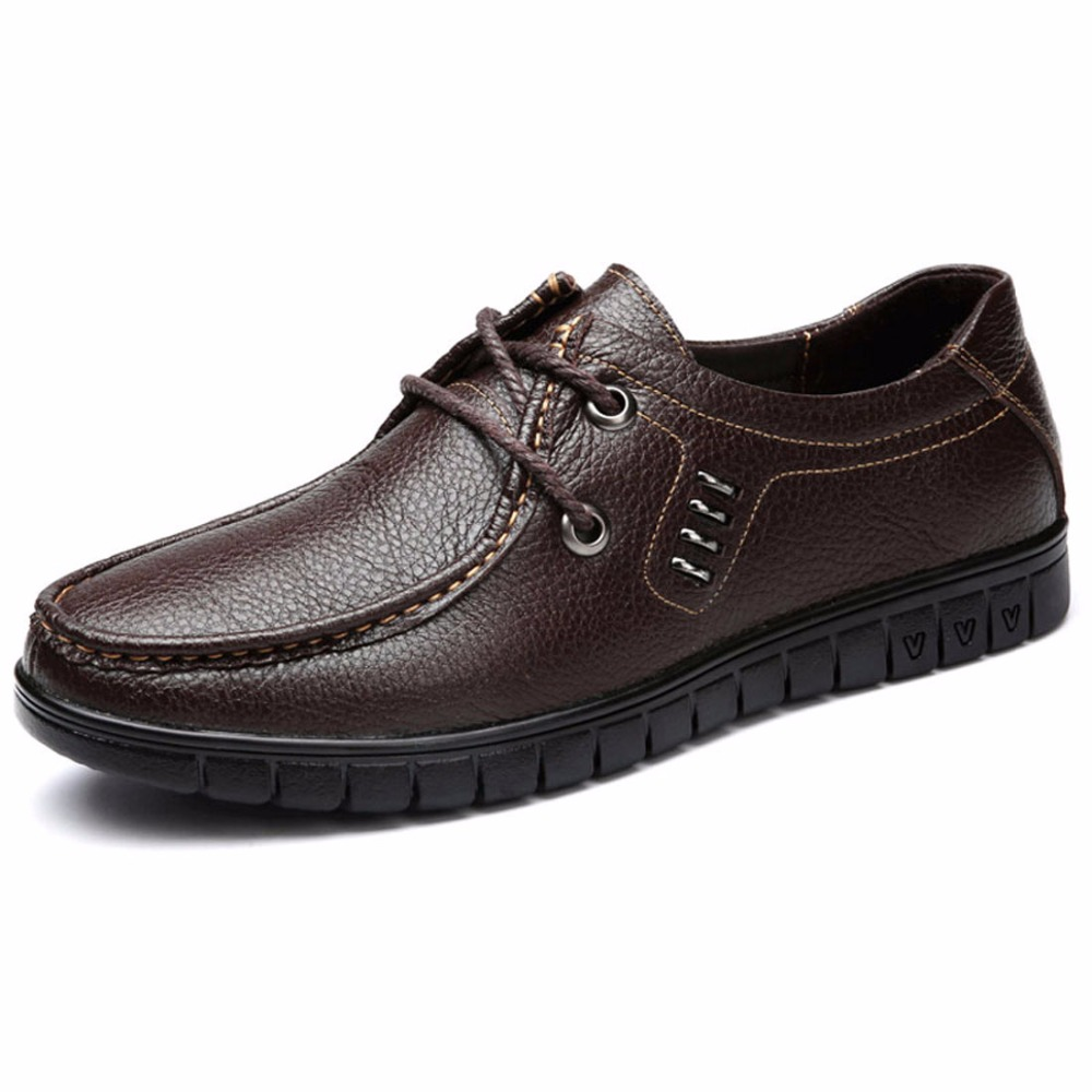 New Design Genuine Leather Men Shoes Black Brown Men Flats Hand Sewing Casual Zapatos Hombres Lace-up Oxfords Soft Men Shoes 827