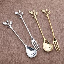 1pc Stainless Steel Leaf Fruit Fork Coffee Spoon Party Supplies salad Snacks Cake Dessert Lovely tableware #25