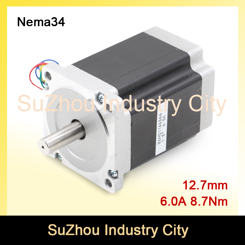 CNC NEMA 34 stepper motor 86X114mm 8.7N.m 6A nema34 shaft 12.7mm stepping motor 1172Oz-in for CNC engraving machine, 3D printer! china stepper motor nema34 12nm 1714oz in 2 phase 4 2a d 15 87 86hs120 for cnc engraving machine
