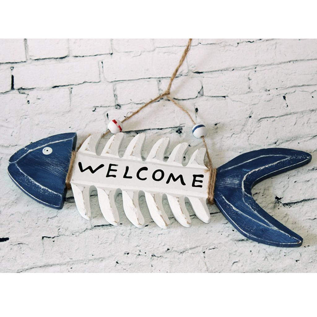 WELCOME Wooden Fish Skeleton Hanging Home Shop Beach Theme Cafe  Decoration(China (Mainland)