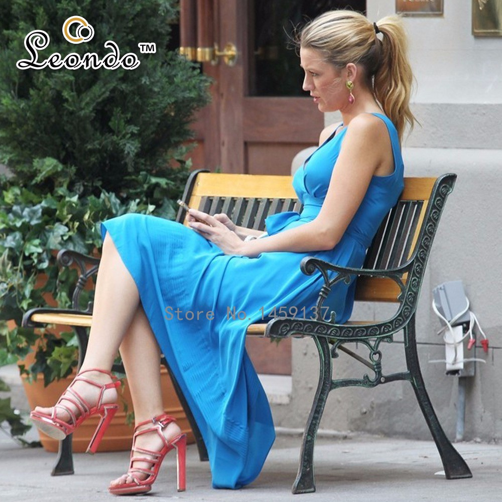 Blake Lively Bright Blue Dress with a Knit Wrap in Gossip Girl  $119 (1)--