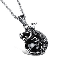 Snapdragon Dragon pendant necklace Dragons playing with a pearl male titanium necklaces Domineering men necklace stainless steel