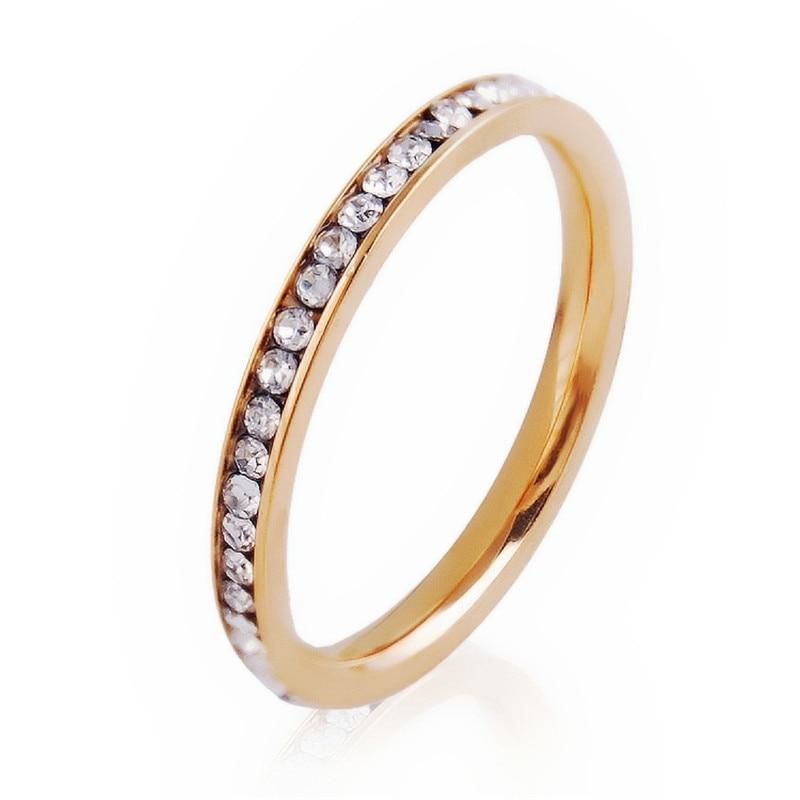 LIN STÜDYO Toptan Takı Lots 2mm Kristal Rhinestone Altın/Gümüş Paslanmaz Çelik Sonsuzluk Düğün Parmak Yüzük
